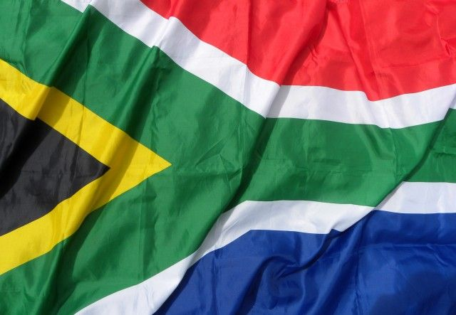South Africa's flag with Y shape and yellow, black, green, gold and blue colors