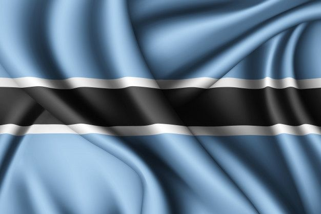 Botswana's flag with blue, black and white color