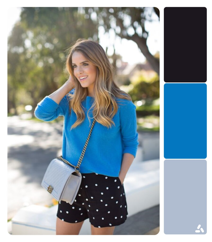 photo about blue and black outfit with color palette