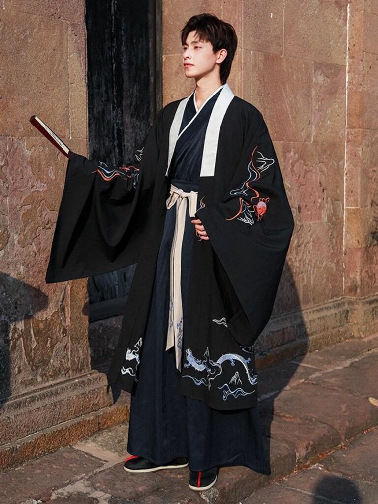 Chinese man wearing black kimono