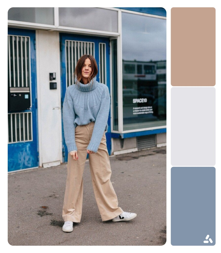 photo about blue and beige outfit with color palette