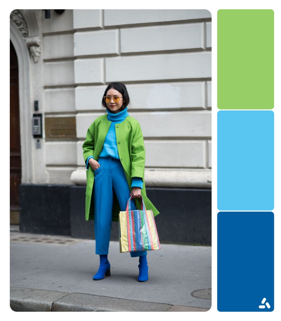 photo about blue and green outfit with color palette