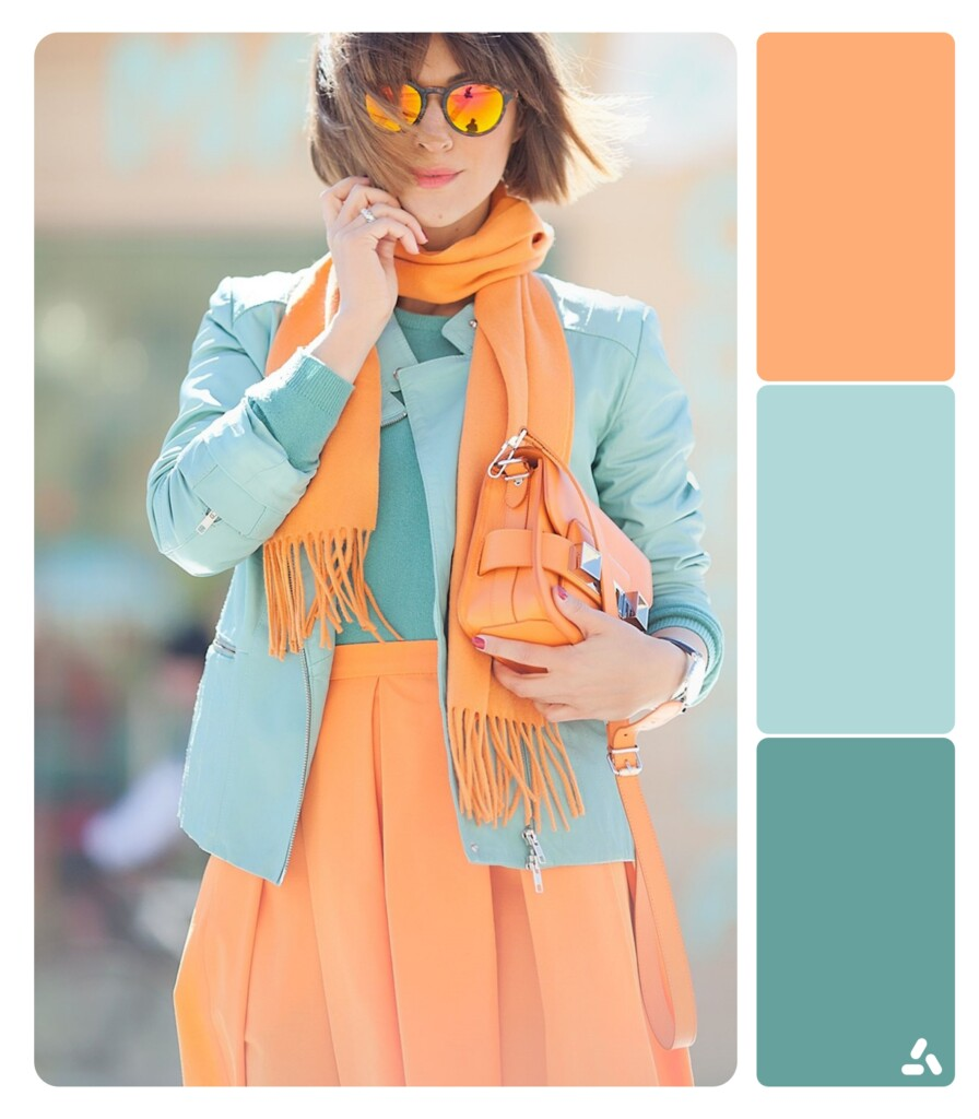 photo about blue and orange outfit with color palette