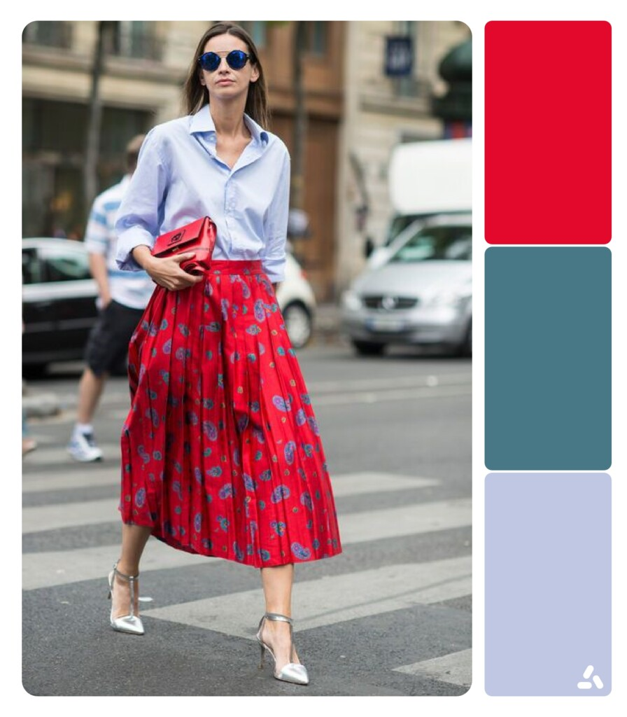 photo about blue and red outfit with color palette