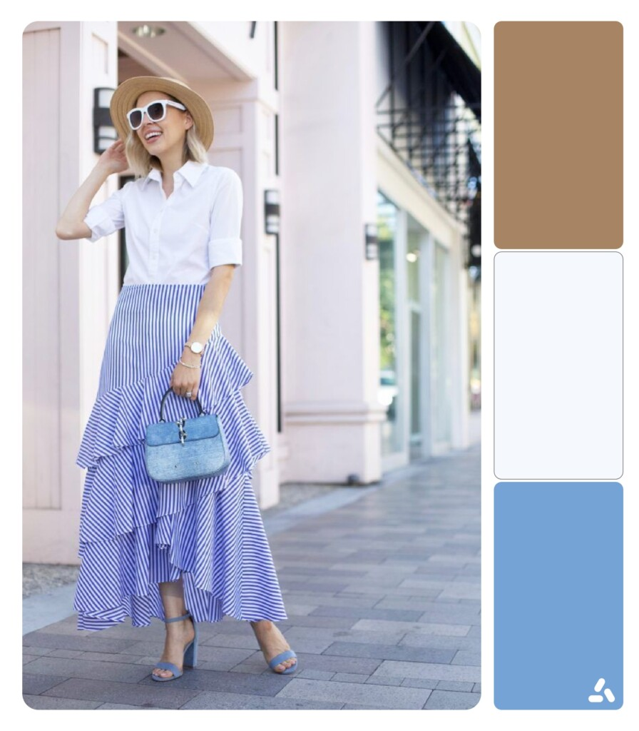 photo about blue and white outfit with color palette