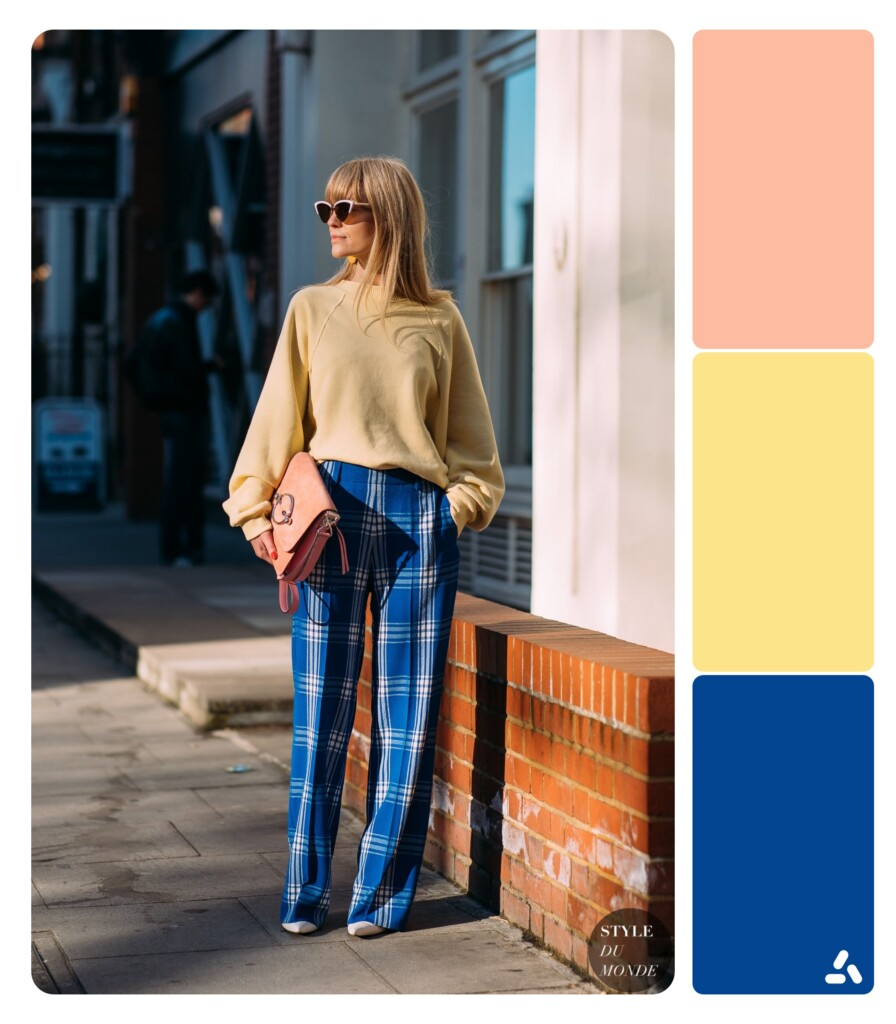 photo about blue and yellow outfit with color palette