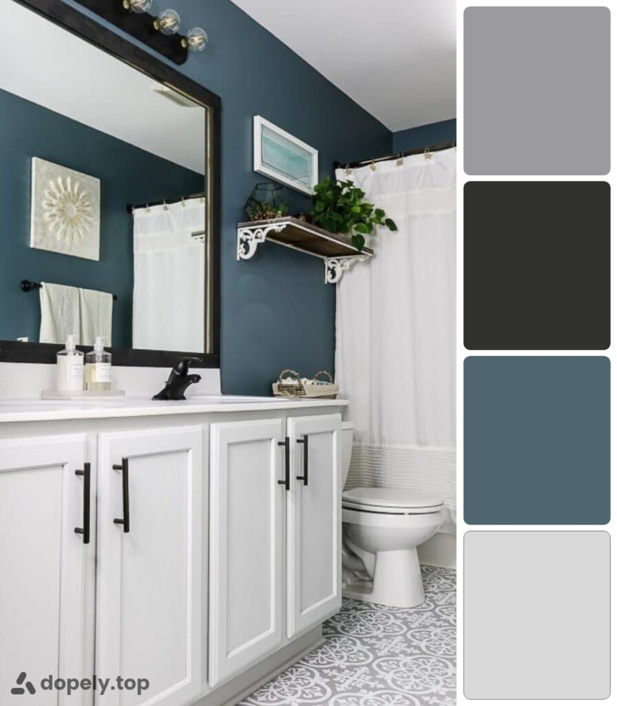 the use of blue in decoration of bathroom blue walls and white cabinets