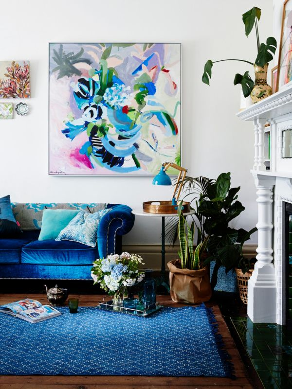 blue as a dominant color in interior design