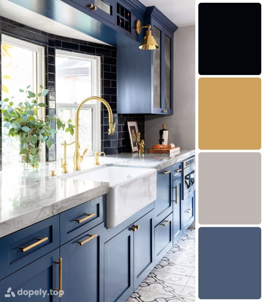 kitchen with blue cabinets and gold handles and black walls