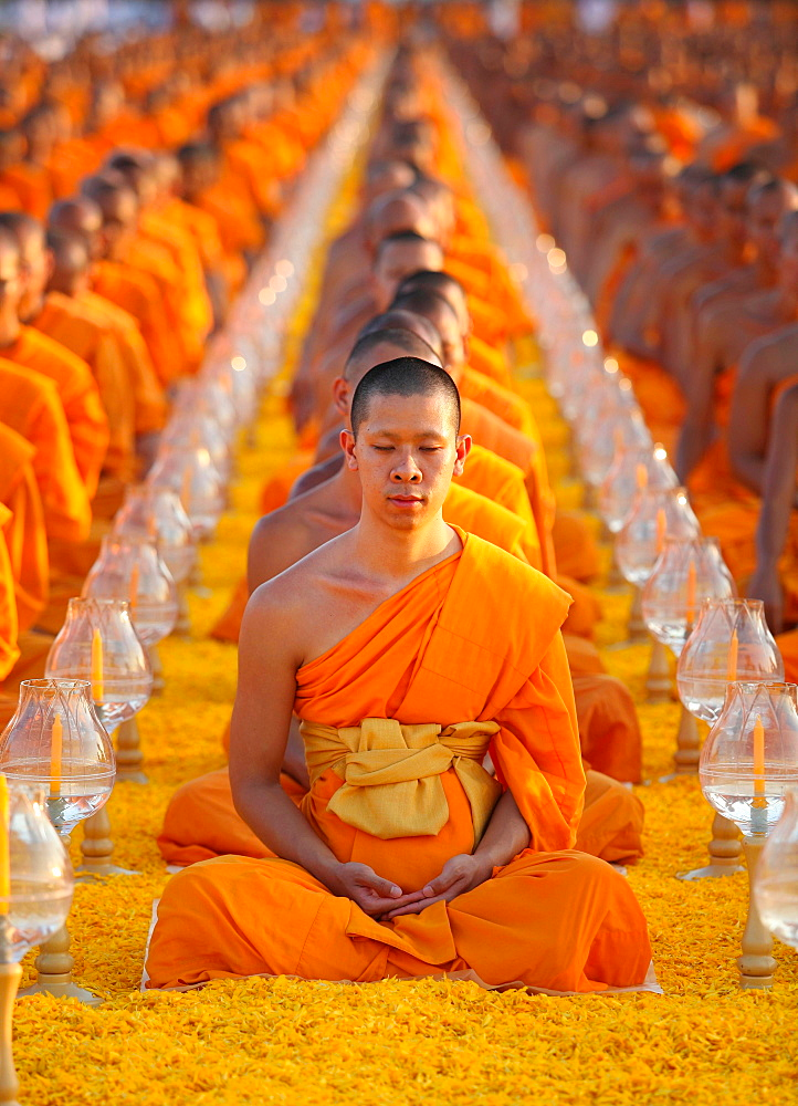 photo about Thailand's colors monks in Thailand wearing orange robes