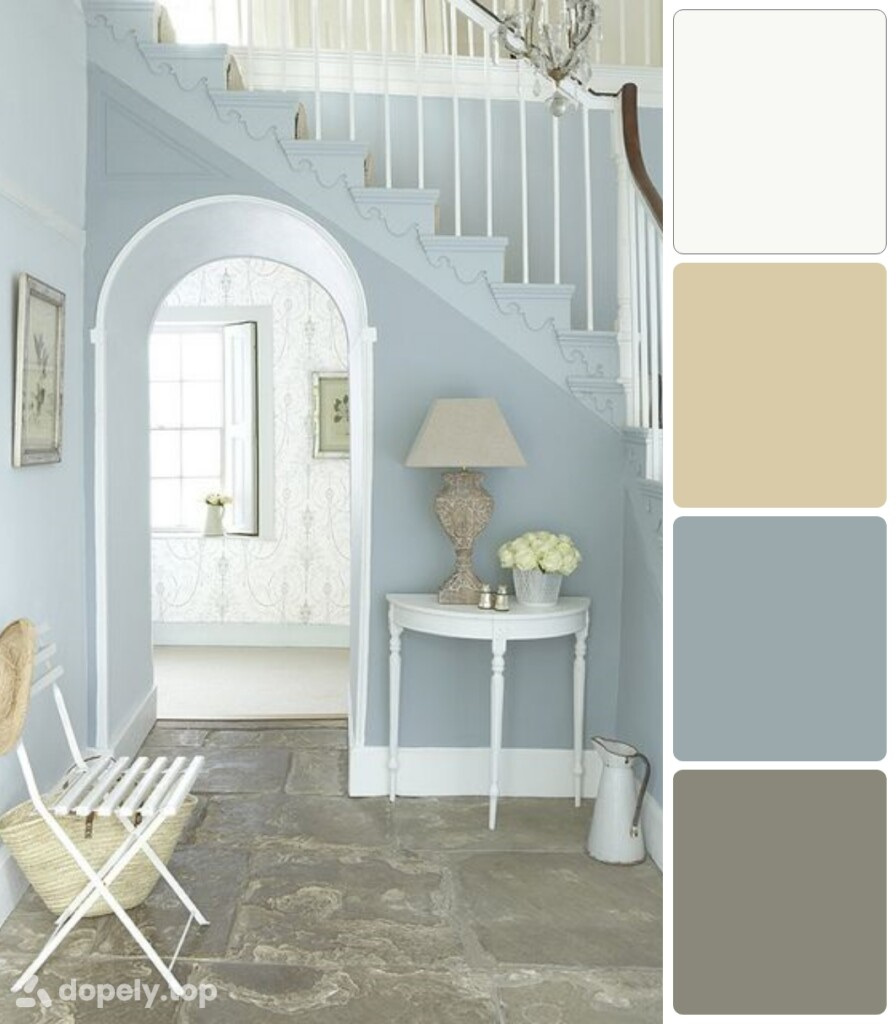 the use of pastel blue color in decoration pastel blue walls of the hallway