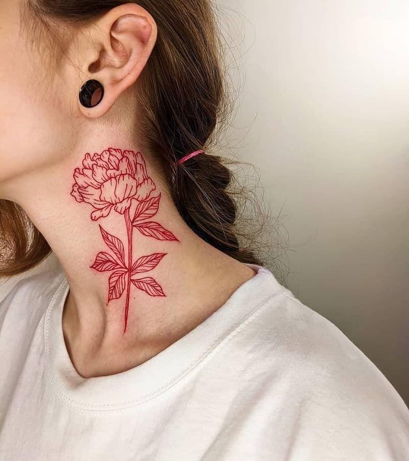 black rose tattoo on the neck