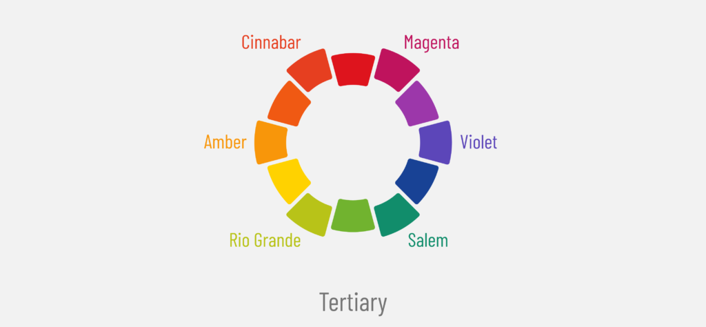 Color wheel if 12 colors with primary, secondary and bold tertiary colors of cinnabar and magenta and violet and Salem and Rio grande and amber  For beginners to learn about tertiary colors and their difference with primary and secondary colors in dopely colors blog post