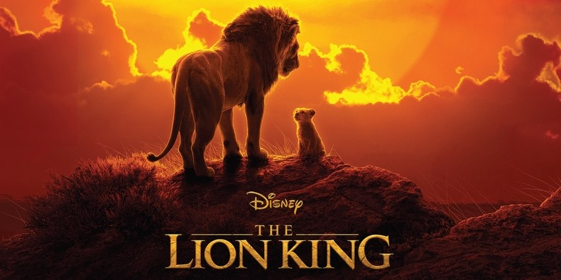 color in film, lion king 2019 movie poster, Mufasa and simba looking at each other