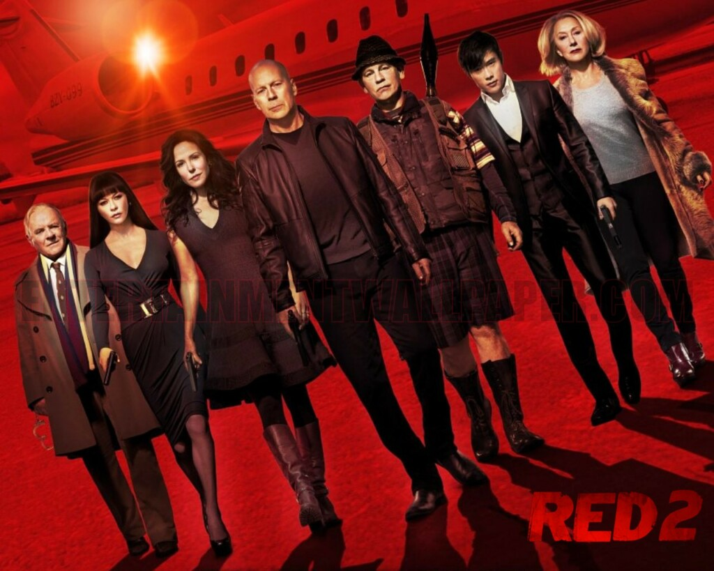 colors in movie titles, red 2 movie poster and its casts