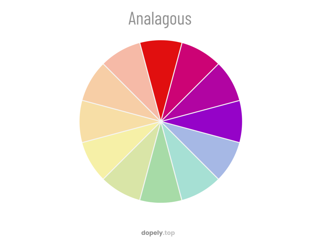 A color wheel with bold analogous scheme of red and pink and purple and violet for showing how analogous palette are made with color wheel in dopely colors blog post about color theory and color basis