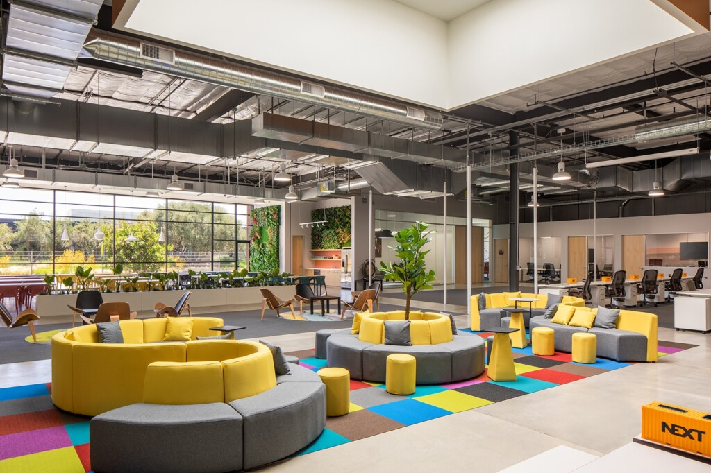 Work office color, yellow and gray, the main hall of an office
