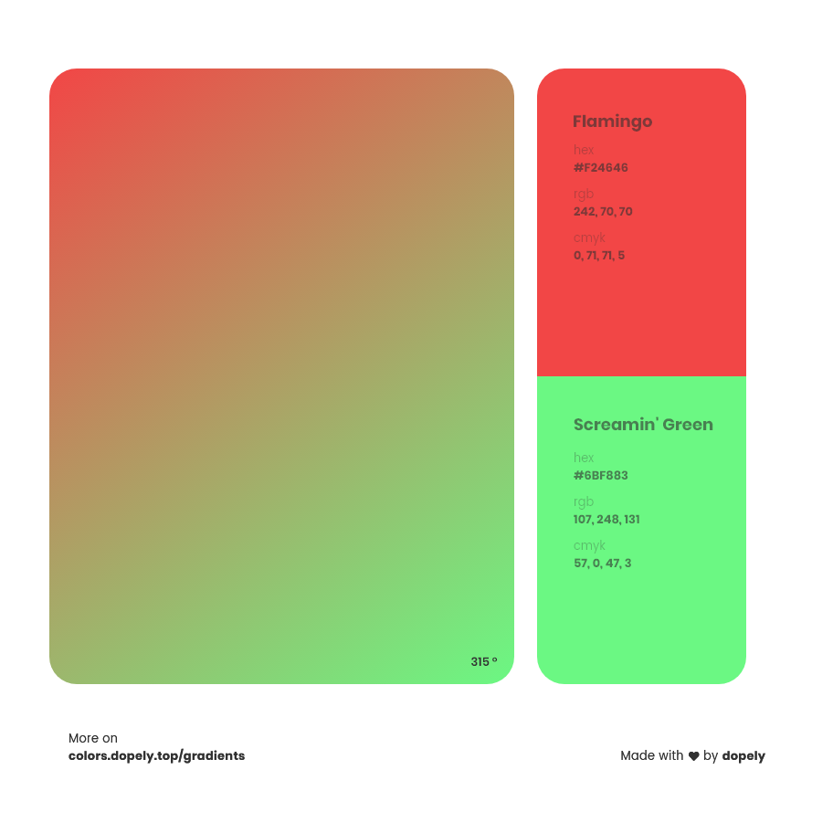 flamingo red to screamin green Inspirations with Names & Codes, RGB, CMYK& Hex code