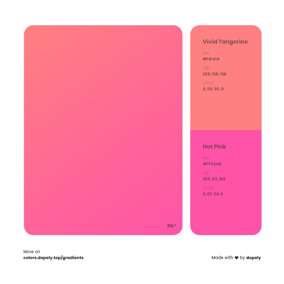vivid tangerine color to hot pink gradient inspirations with names & codes in RGB, CMYK& Hex
