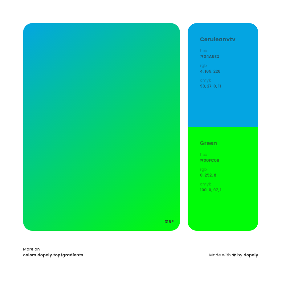 ceruleanvtv blue to Green Gradient Inspirations with Names & Codes, RGB, CMYK& Hex code