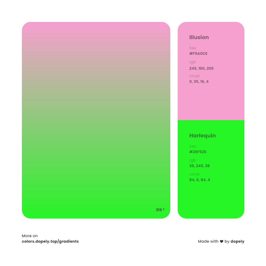 harlequin color to illusion pink gradient inspirations with names & codes in RGB, CMYK& Hex