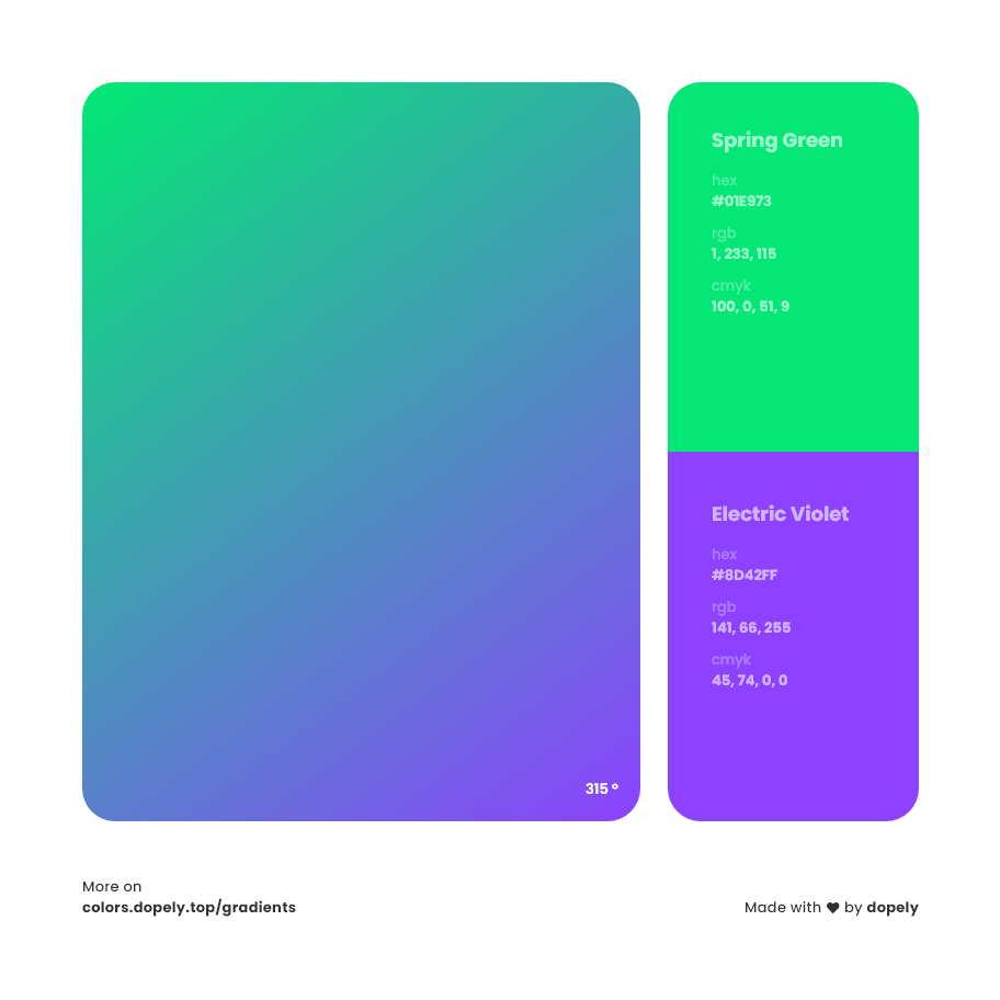 electric violet to spring green Inspirations with Names & Codes, RGB, CMYK& Hex code