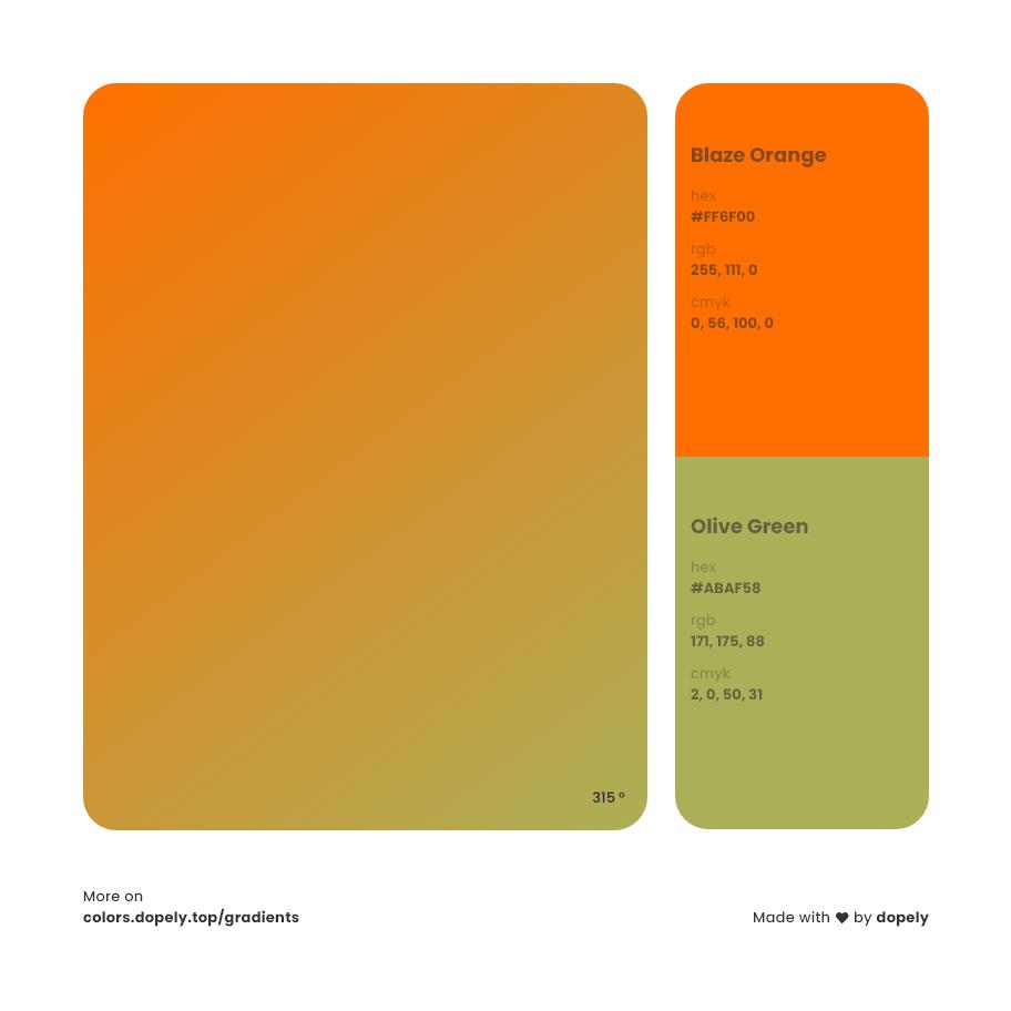 blaze orange to olive green haze Inspirations with Names & Codes, RGB, CMYK& Hex code