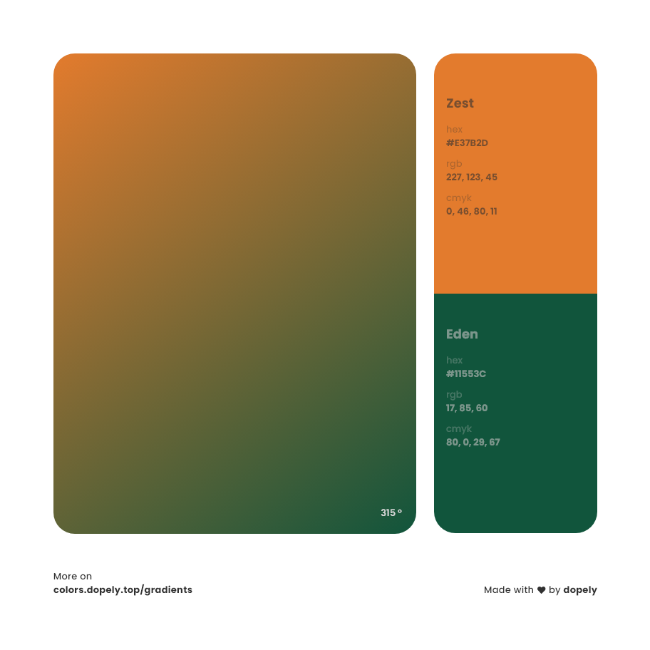 Zest orange to eden Green Inspirations with Names & Codes, RGB, CMYK& Hex code
