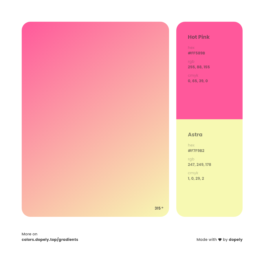 astra color to hot pink gradient inspirations with names & codes in RGB, CMYK& Hex