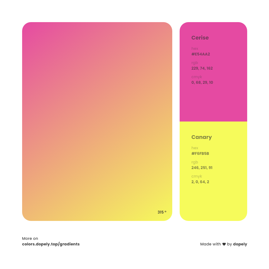 cerise color to canary yellow gradient inspirations with names & codes in RGB, CMYK& Hex