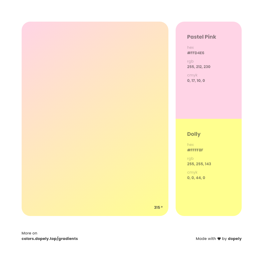 dolly color to pastel pink gradient inspirations with names & codes in RGB, CMYK& Hex