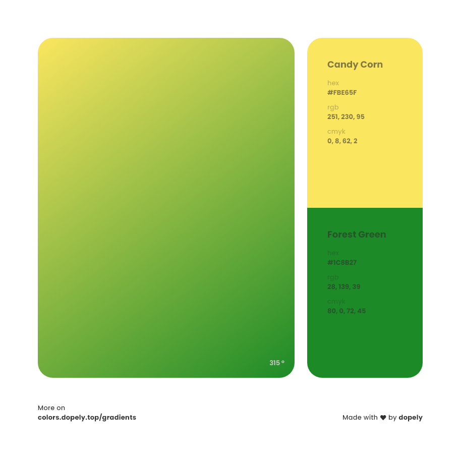 Candy corn yellow to forest green Inspirations with Names & Codes, RGB, CMYK& Hex code