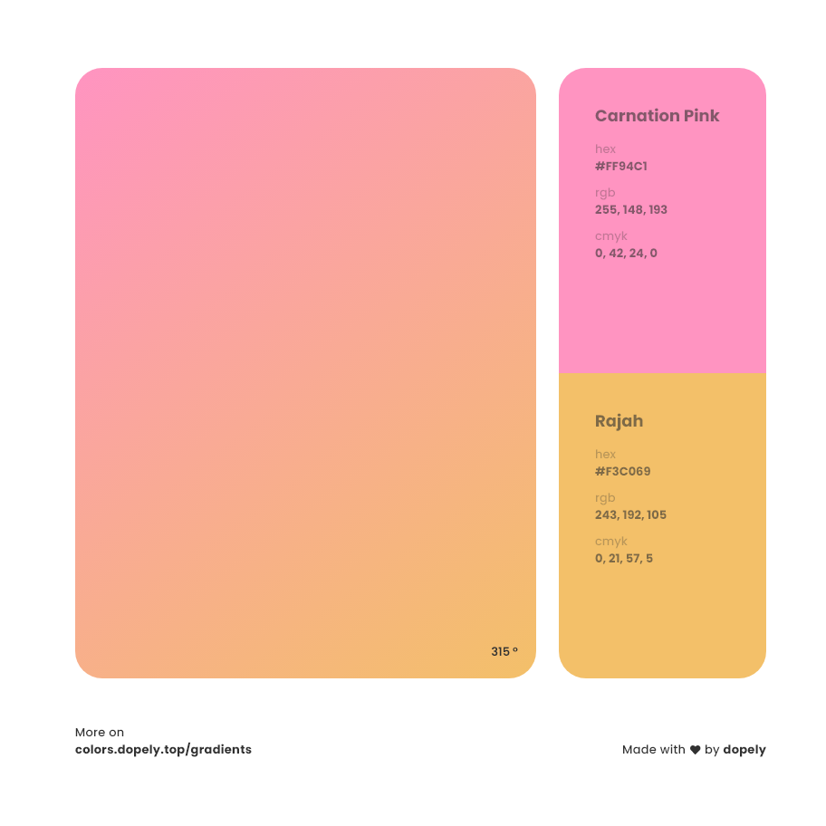 rajah color to carnation pink gradient inspirations with names & codes in RGB, CMYK& Hex