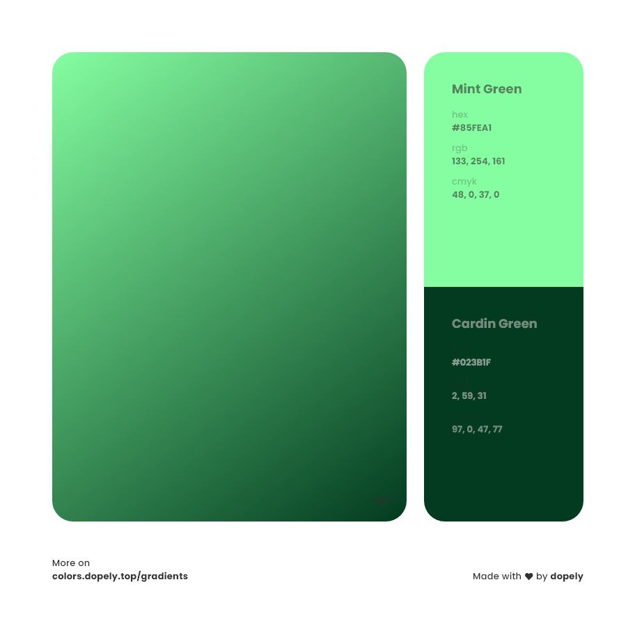 Analogous cardin green to mint Green Gradient Inspirations with Names & Codes, RGB, CMYK& Hex code