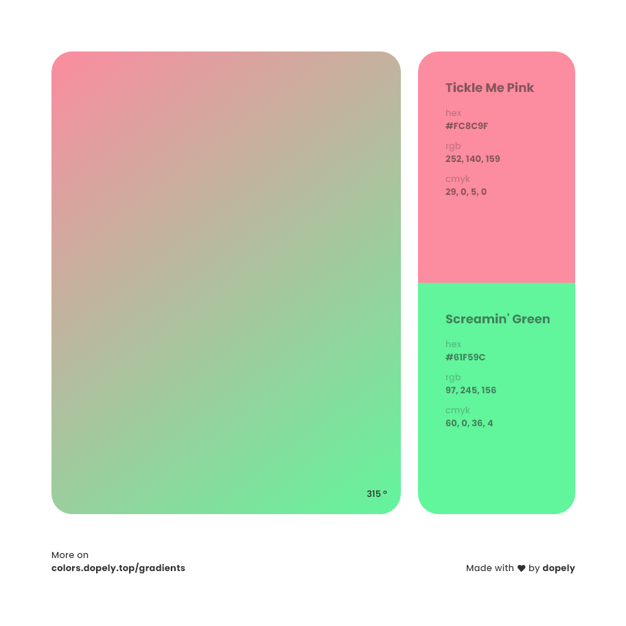 tickle me pink to screamin green Inspirations with Names & Codes, RGB, CMYK& Hex code