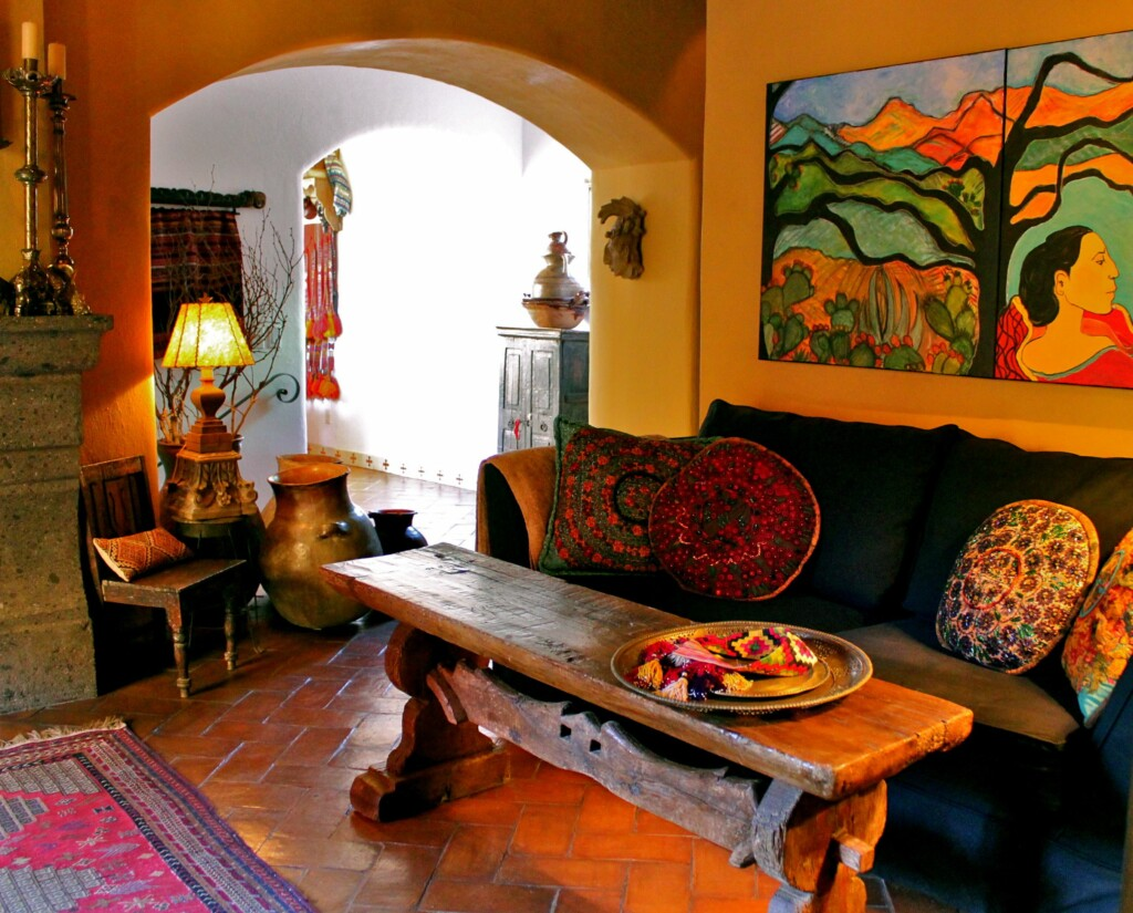 view of the interior of a Mexican house with bright yellow walls.