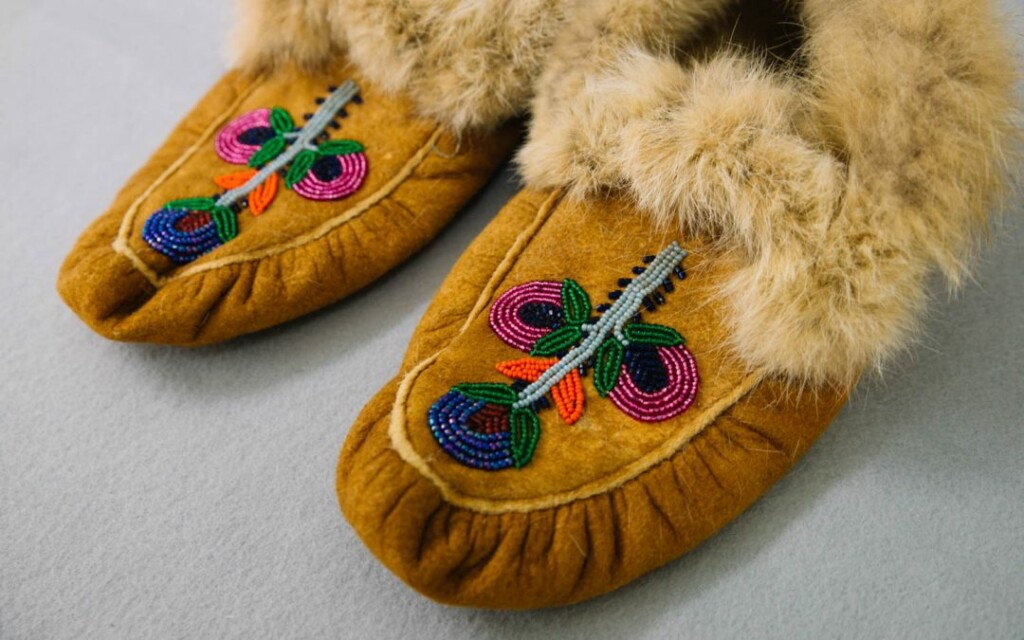 native american shoes embroidered with beads
