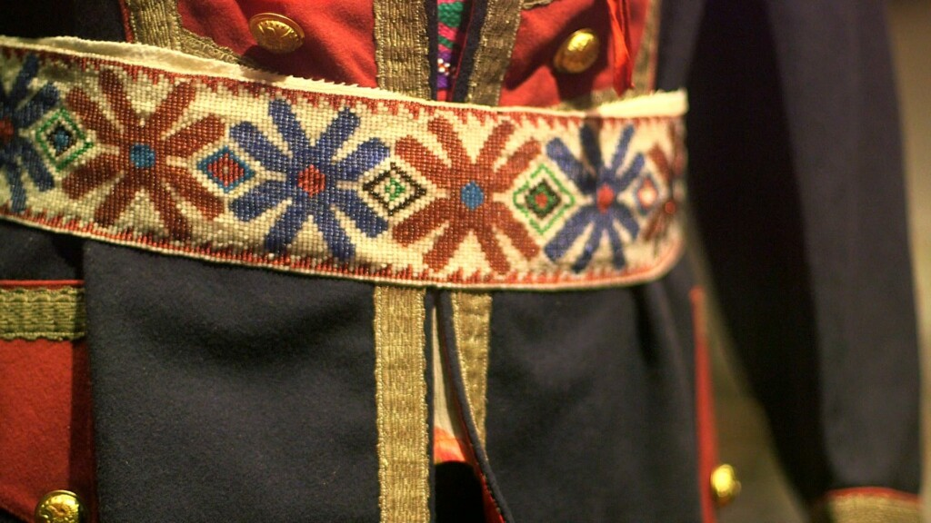 native american belt embroidered with beads.