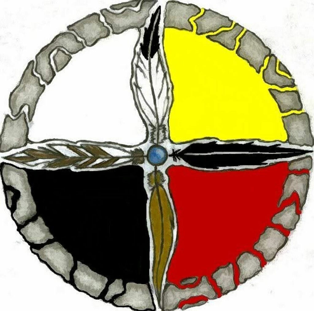 a symbol of four colors consisting of yellow, red, black and white which represents the four geographical directions in native american culture.