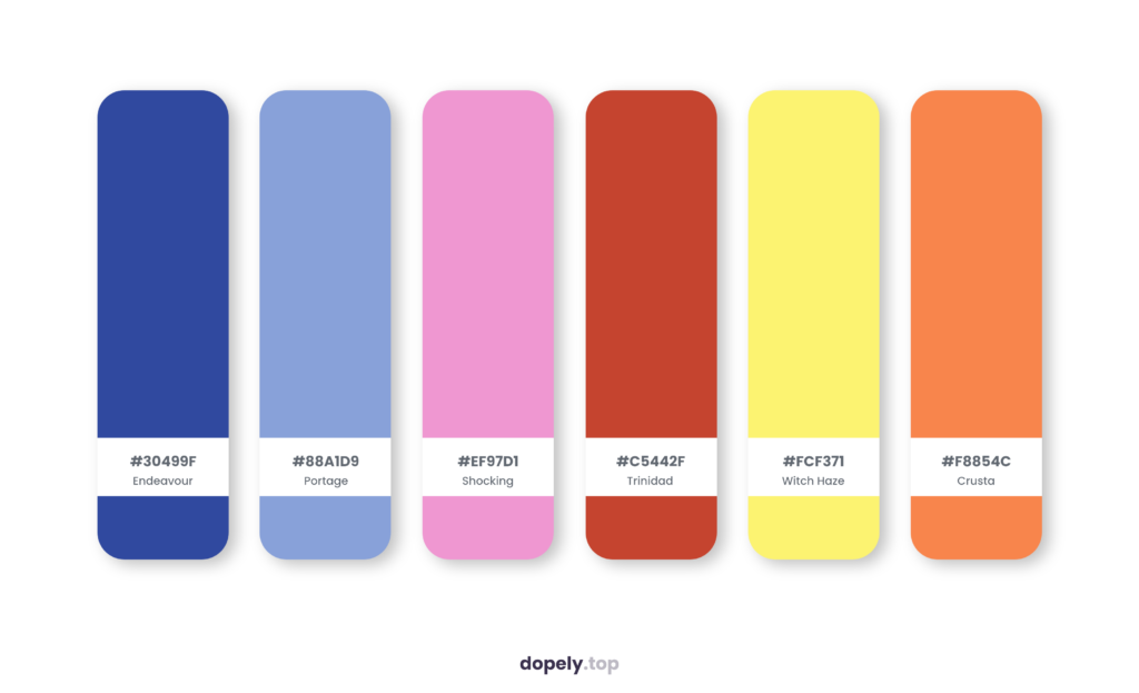 Color palette inspiration by Dopely color palette generator with: Endeavour (30499F) + Portage (88A1D9) + Shocking (EF97D1) + Trinidad (C5442F) + Witch Haze (FCF371) + Crusta (F8854C)