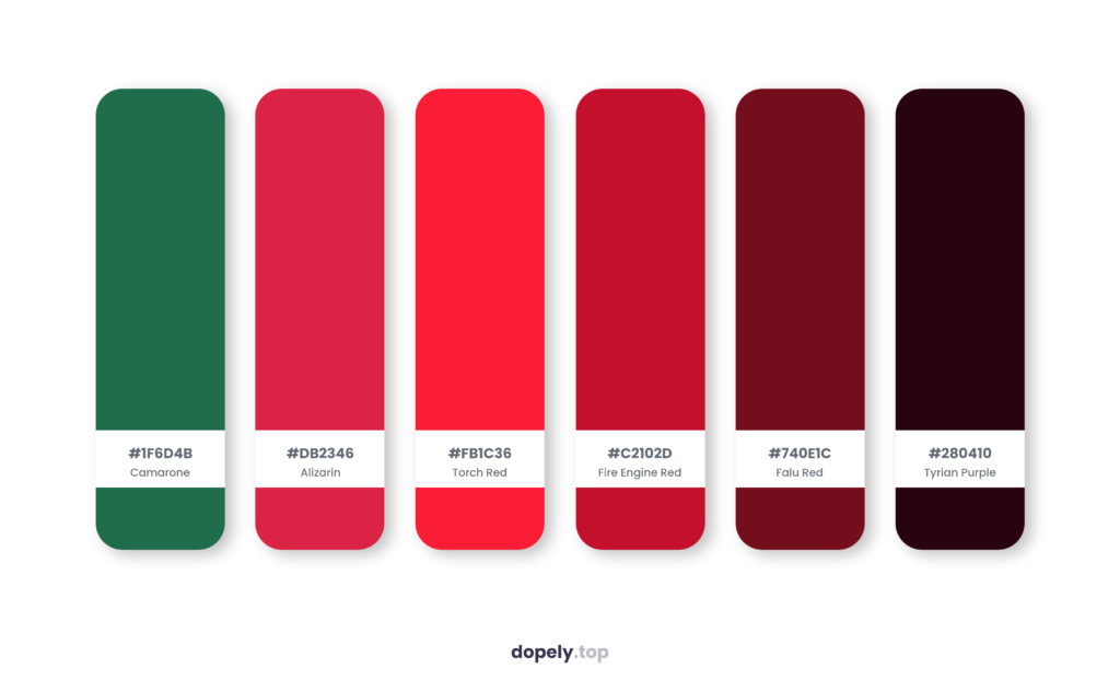 Color palette inspiration by Dopely color palette generator with: Camarone (1F6D4B) + Alizarin (DB2346) + Torch Red (FB1C36) + Fire Engine Red (C2102D) + Falu Red (740E1C) + Tyrian Purple (280410)