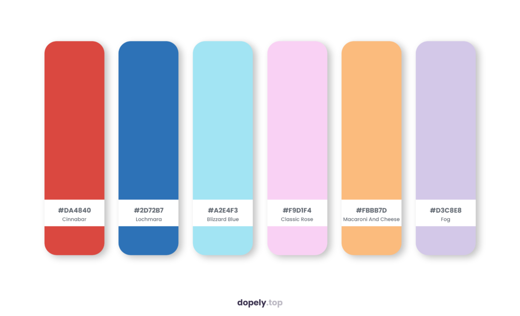 Color palette inspiration by Dopely color palette generator with: Cinnabar (DA4840) + Lochmara (2D72B7) + Blizzard Blue (A2E4F3) + Classic Rose (F9D1F4) + Macaroni And Cheese (FBBB7D) + Fog (D3C8E8)