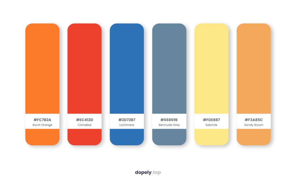 Color palette inspiration by Dopely color palette generator with: Burnt Orange (FC7B2A) + Cinnabar (EC412D) + Lochmara (2D72B7) + Bermuda Grey (66869E) + Salomie (FDE887) + Sandy Brown (F3A85C)