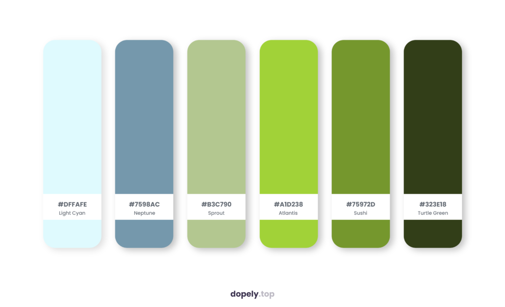 Color palette inspiration by Dopely color palette generator with: Light Cyan (DFFAFE) + Neptune (7598AC) + Sprout (B3C790) + Atlantis (A1D238) + Sushi (75972D) + Turtle Green (323E18)