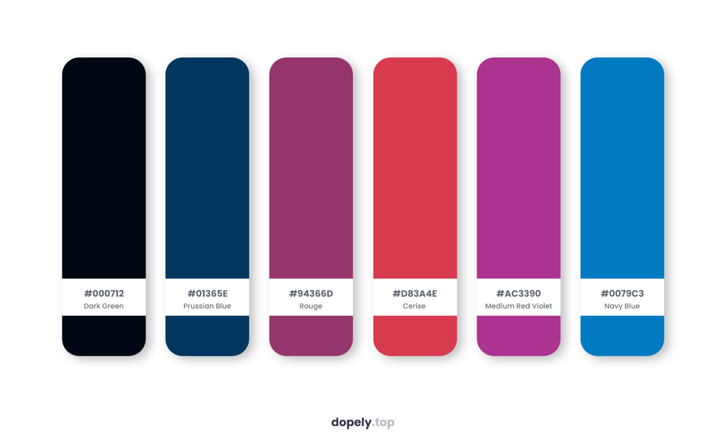 Color palette inspiration by Dopely color palette generator with: Dark Green (000712) + Prussian Blue (01365E) + Rouge (94366D) + Cerise (D83A4E) + Medium Red Violet (AC3390) + Navy Blue (0079C3)