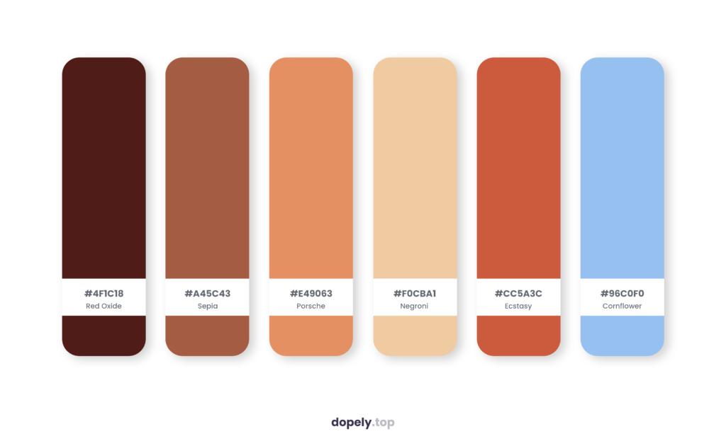 Color palette inspiration by Dopely color palette generator with: Red Oxide (4F1C18) + Sepia (A45C43) + Porsche (E49063) + Negroni (F0CBA1) + Ecstasy (CC5A3C) + Cornflower (96C0F0)