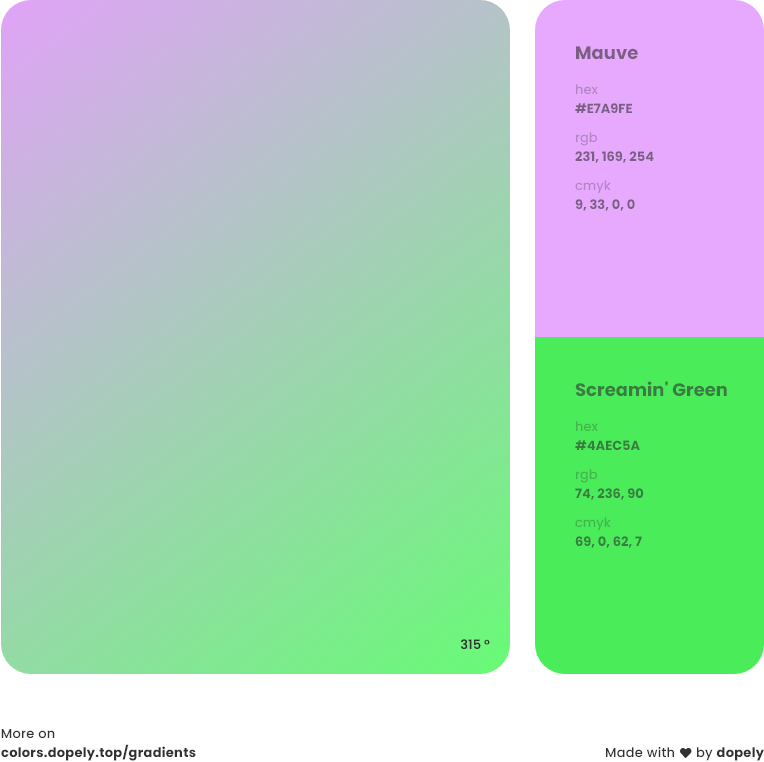 screaming green color to mauve pink gradient inspirations with names & codes in RGB, CMYK& Hex