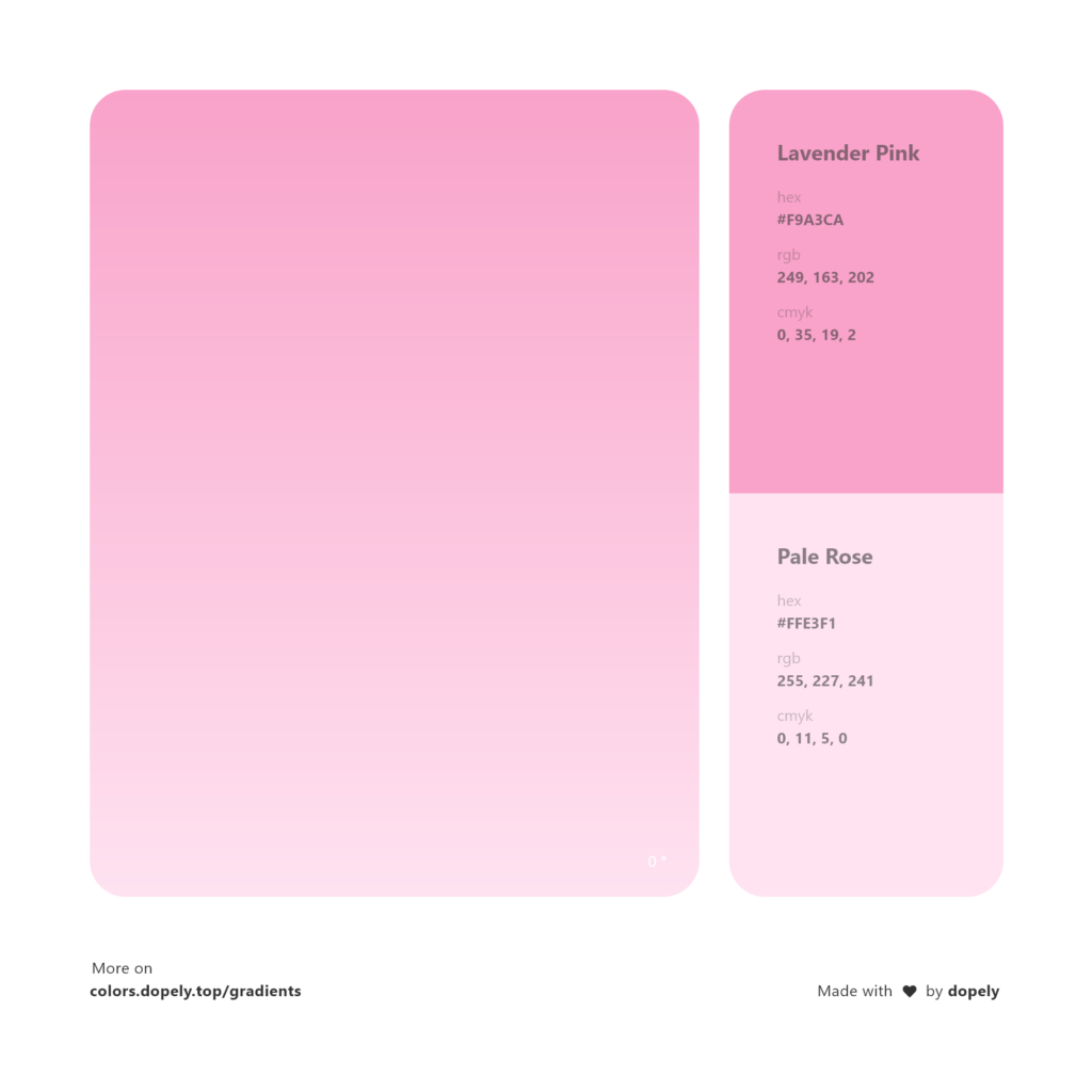 Analogous lavender pink color to pale rose pink gradient inspirations with names & codes in RGB, CMYK& Hex