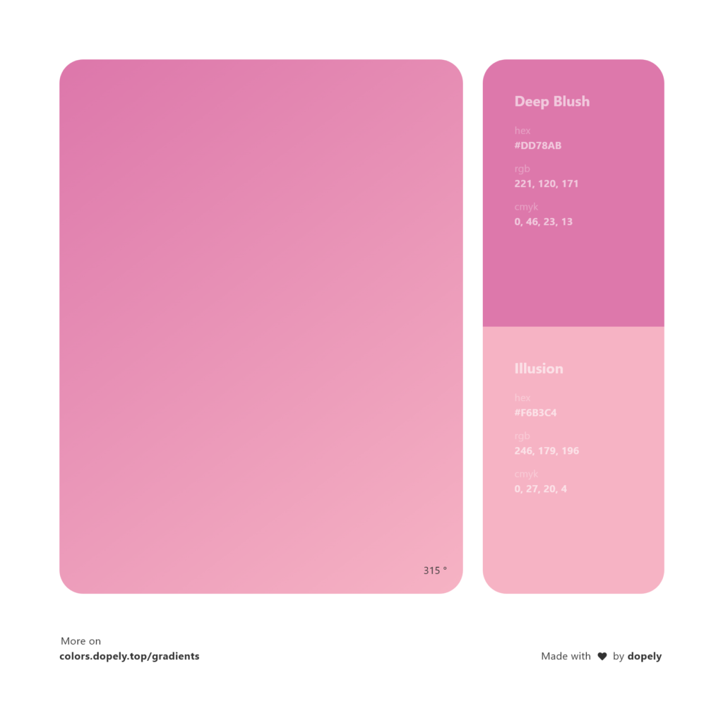 Analogous deep blush pink color to illusion pink gradient inspirations with names & codes in RGB, CMYK& Hex