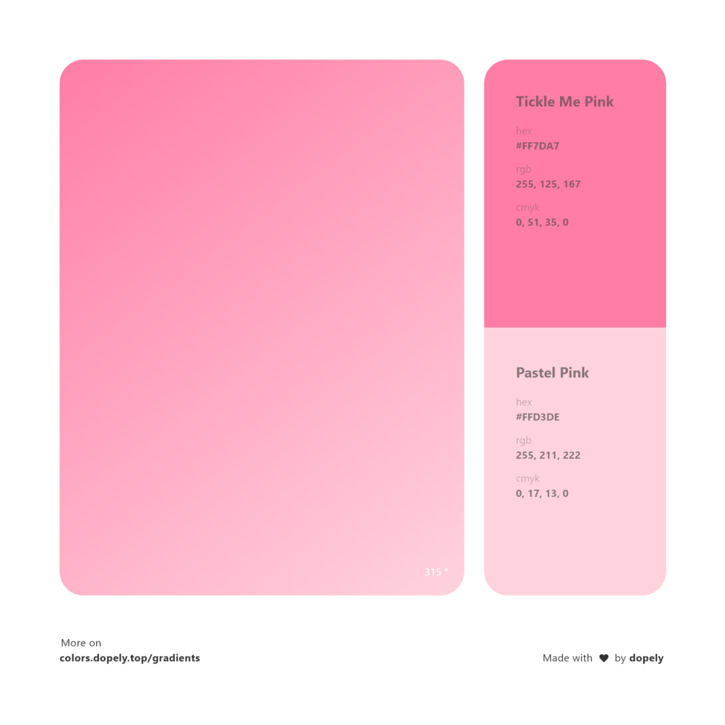 Analogous tickle me pink color to pastel pink gradient inspirations with names & codes in RGB, CMYK& Hex